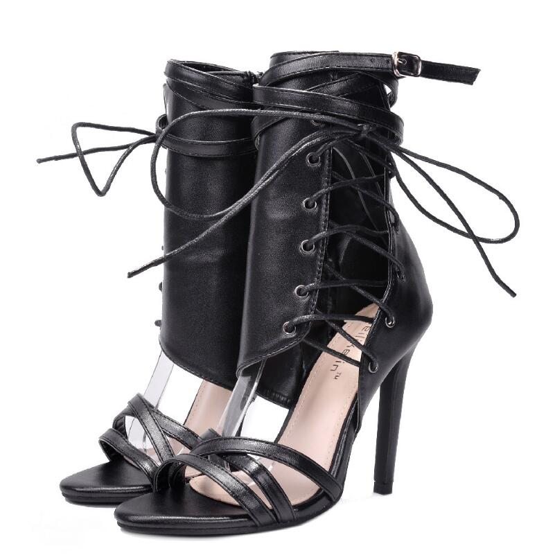 28ea406fe7d FragrantLily Roman Buckle strap Shoes Women Sandals sexy Gladiator Lace up  peep toe sandals high