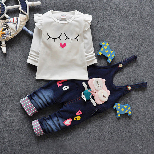 Free shipping 2018 baby girls sweet 2pcs sets, t-shirt + rompers suit children colthing
