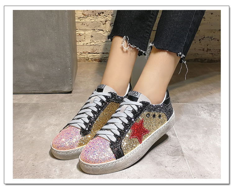 GRAM EPOS 2018 Women Casual Shoes Glitter Leather Do Old Dirty Shoes ... 34bf2efbaaad