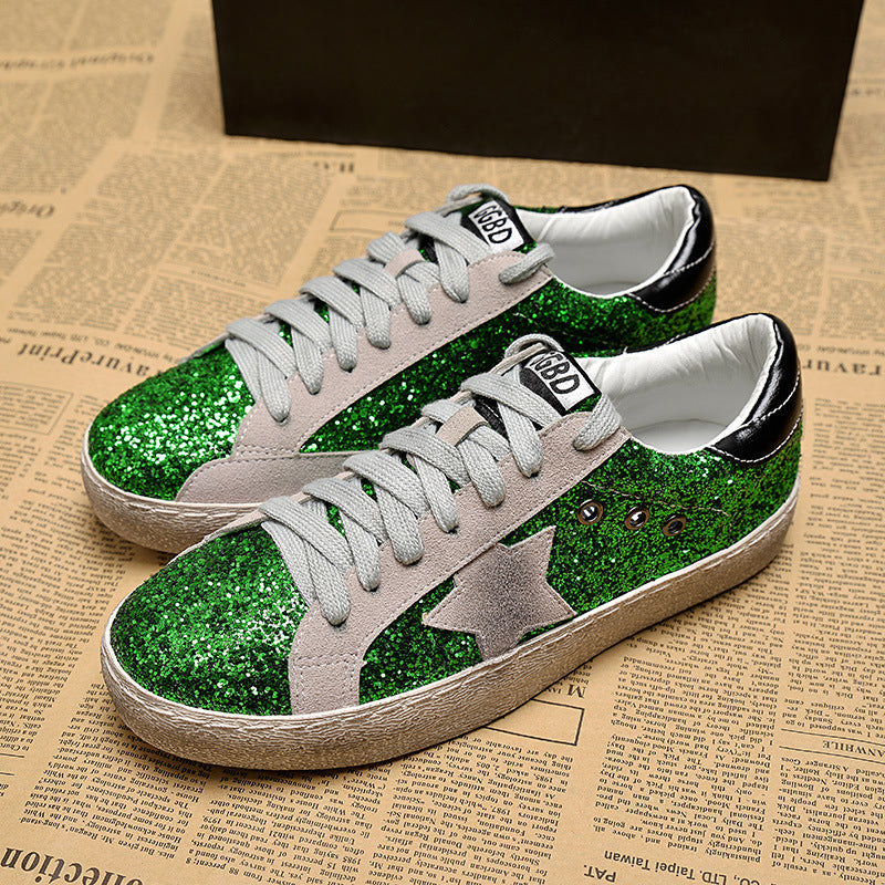 GRAM EPOS 2018 Women Casual Shoes Glitter Leather Do Old Dirty Shoes Mixed  Color Women Sequins Star Golden Fleeces trainers – Beal  597b5cf1703b