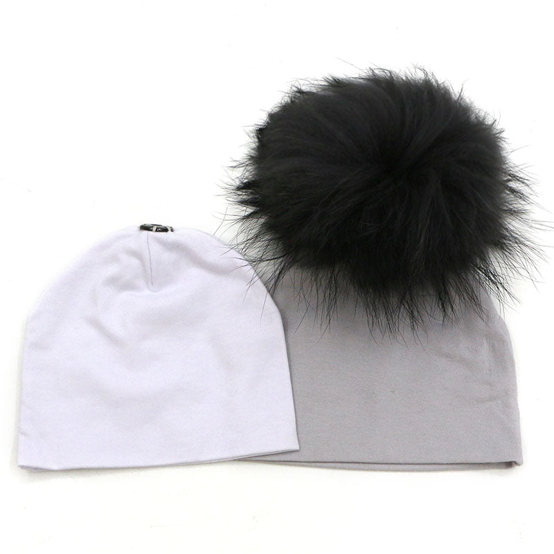 59788fe51a5 GZHilovingL 2 pcs 0-5 month Baby Girls Boys Cotton hat with Real Fur pompom  Hat Autumn Winter Baby Solid Hat Fur Ball Hat Girls – Beal