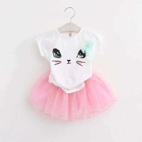 Girls 2018 Summer New Baby Girls Clothing Sets Fashion Style Cartoon Kitten Printed T-Shirts+Net
