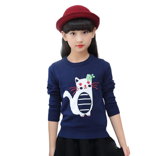 Girls Cartoon Print Cat Sweatshirt Hoodies Big Girls Cotton Long Sleeve Sweatshirts Kids Warm