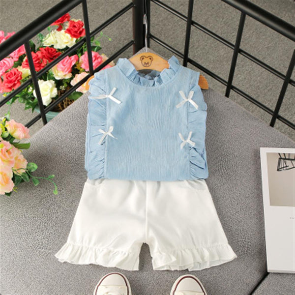 Girls Clothes Summer Girl Chiffon Sleeveless Tops Shorts Girl Casual Solid 2Pcs Kids Suits Girl