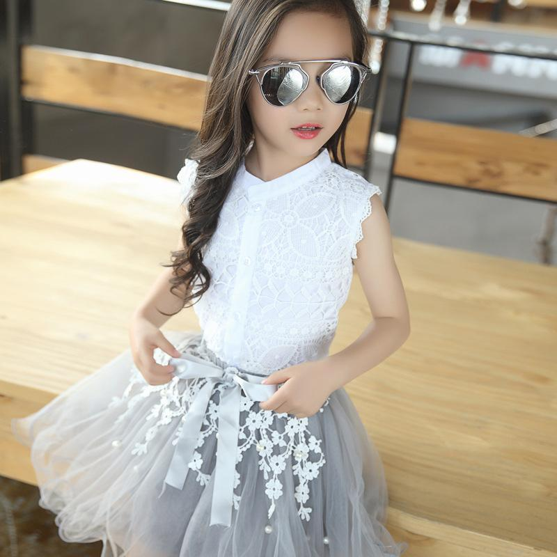 cd2fdeeca3025 Girls Clothing Skirt Set 2018 Summer Outfits Flower Lace Fashion Style  Clothes Suits For Kids