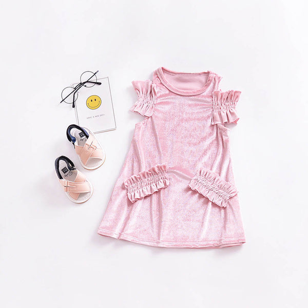 Girls Dress 2018 New spring Summer Toddler Baby Girls Solid Ruffles Sleeve Dress Princess Outfits Clothes Dress dropshipping