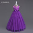 Girls Full Dress for Children Champagne White Gray Purple Blue Evening Gown Big Kids Sleeveless Ball Gown Lace Dresses FH439