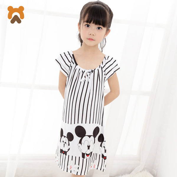 Girls Princess Nightgowns Summer Short Sleeve Striped Cartoon Nightdress Knitted Pajamas Sleepwear Children Kids Girl Nightgown