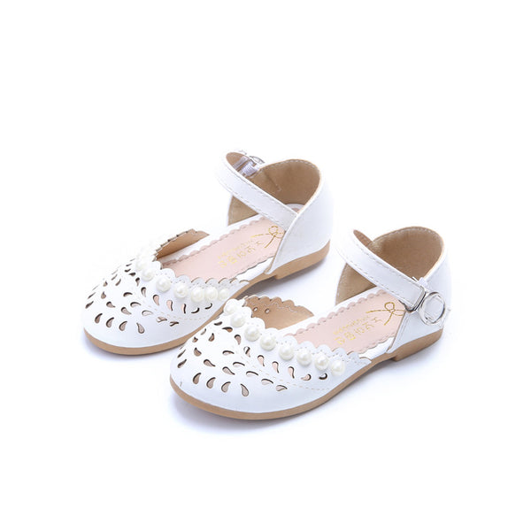 Girls White Pink 1 2 3 4 5 6 7 8 9 12 Years Kids Baby Summer Pearl Beach Sandals Dress Shoes For Little Girl Princess Shoes 26