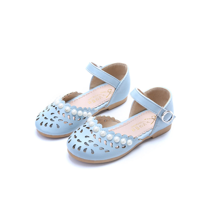 afc59accb2600 Girls White Pink 1 2 3 4 5 6 7 8 9 12 Years Kids Baby Summer Pearl Beach  Sandals Dress Shoes For Little Girl Princess Shoes 26