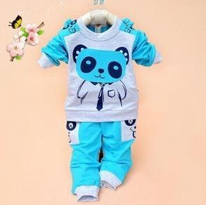 aadfb7a48 Girls and boys suit baby panda cartoon casual long-sleeved striped t-s –  Beal | Daily Deals For Moms