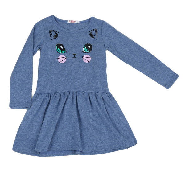 Girls clothing Dress Baby Girl Casual Cat Printed Dresses Children Clothing Princess Dress