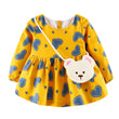 Girls dress  clothing Cute Toddler Baby Girl Heart Print Long Sleeve Princess Dress+Small Bag