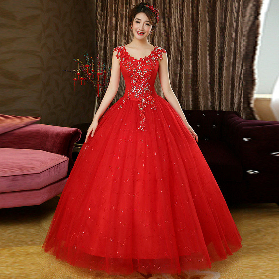 Glamorous Red Wedding Dresses 2018 New Plus Size Long Ivory Wedding Gowns  Scoop Appliques Crystal