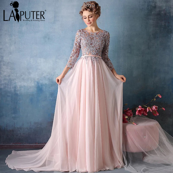 Gray Lace Beading Crystal Formal Three Quarter Sleeve elegant Pink Chiffon evening dress long Prom