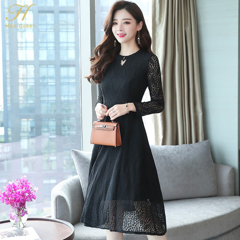 0f5e9ece0c9 H Han Queen 2018 Autumn Lace Dress Work Casual Slim Fashion Sexy Hollow Out  Evening Party Dresses Women A-line Vintage Vestidos – Beal