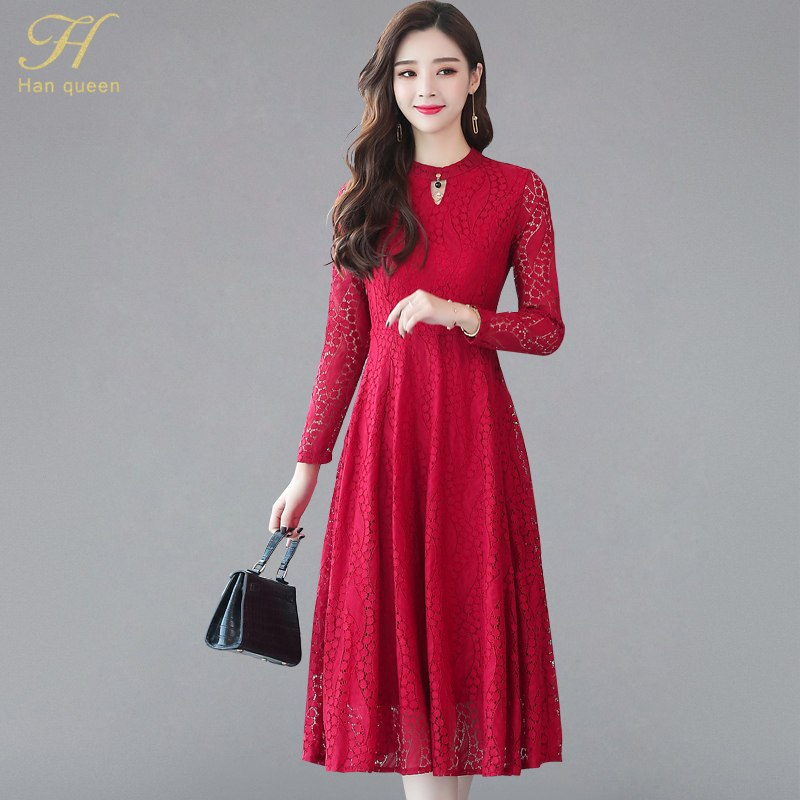 f100c75a38e H Han Queen 2018 Autumn Lace Dress Work Casual Slim Fashion Sexy Hollow Out  Evening Party Dresses