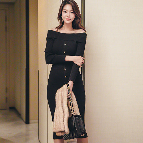 H Han Queen 2018 Autumn New Sexy Sweater Dress Knitted Button Off