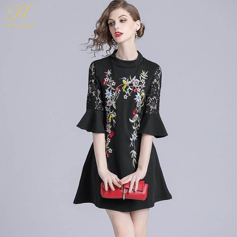 88eab88b49e H Han Queen 2018 Autumn Vintage Trumpet Sleeve Embroidered Black Lace Dress  Casual Slim European Party Dresses Vestidos – Beal
