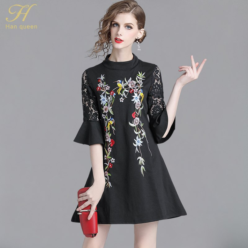 5b503011fe1 H Han Queen 2018 Autumn Vintage Trumpet Sleeve Embroidered Black ...