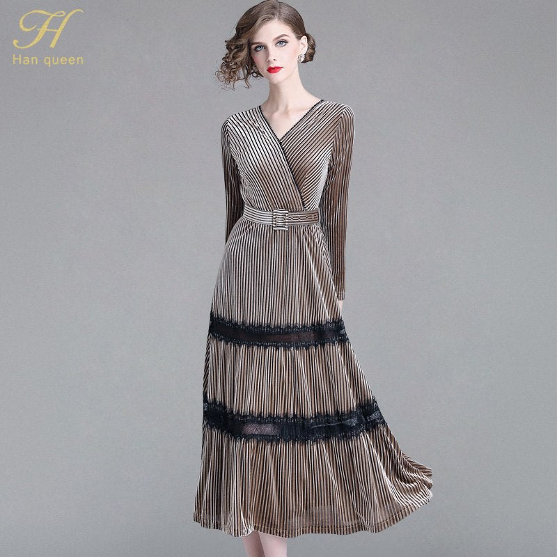 H Han Queen 2018 Autumn Women Lace Stitching Velvet Dress Vintage Dress Business Casual Office