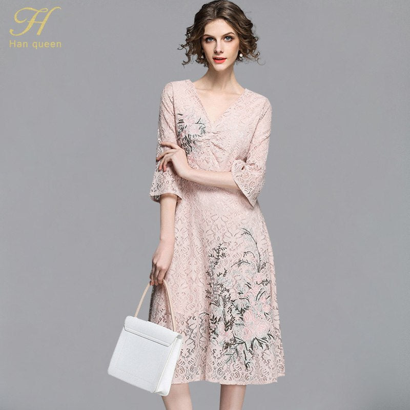 H Han Queen 2018 Summer Womens Lace Dress Embroidered Hollow Out Vestido Business Casual Slim