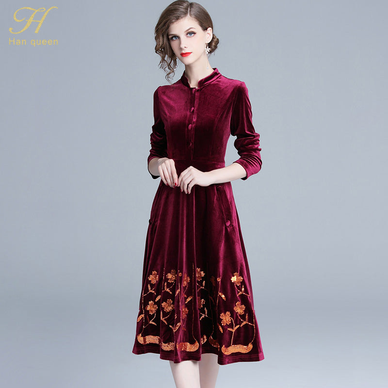 H Han Queen 2019 Spring Sequin Embroidered Velvet Vintage Office Vestidos  Slim Fashion Evening Party Casual Dresses – Beal  988e3b6b5836