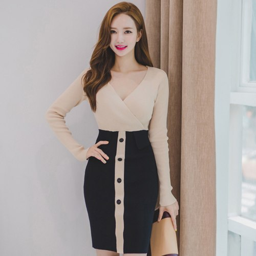 8a1c93adc59 H Han Queen Color Matching Knitting Button Pencil Dress Women 2018 Autumn  Sexy V-neck