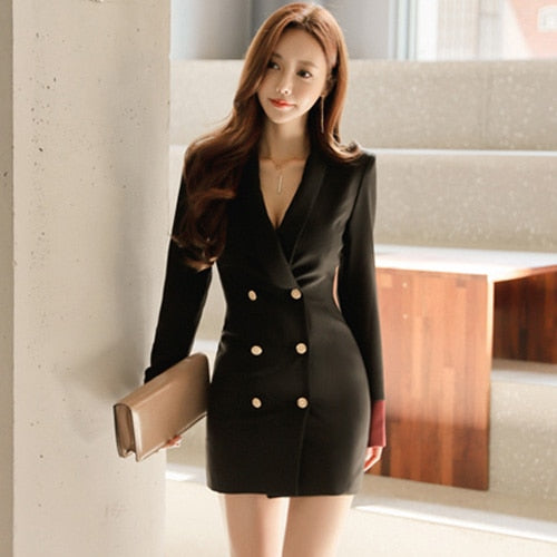 H Han Queen Double Breasted Solid Formal Suits Dress 2018 Autumn