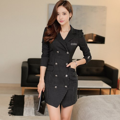 H Han Queen Double Breasted Suits Dress Womens 2018 Autumn Striped