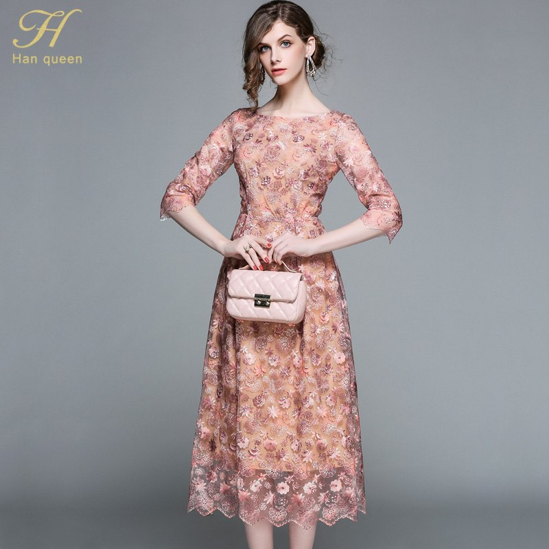 3aec98092f54d H Han Queen Elegant hollow out lace dress women 2018 Half sleeve summer  style vintage slim sexy