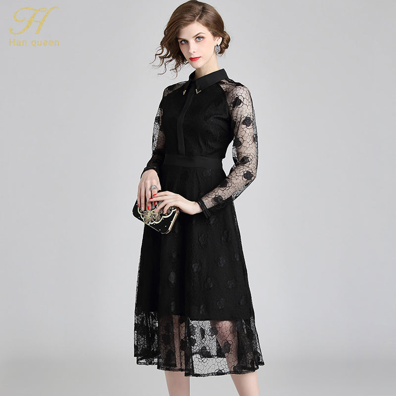 2c22fb29e56 H Han Queen New Autumn Black Lace Dress Runway Slim Fashion Sexy Hollow Out  Work Casual Dresses Women A-line Vintage Vestidos – Beal