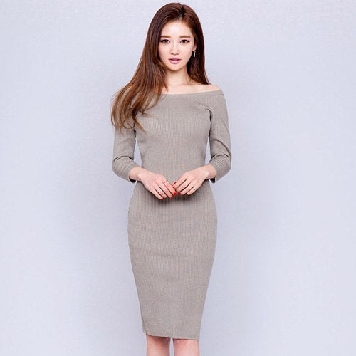 82280c7483d H Han Queen Sexy Slash Neck nitted Pencil Dress Women 2018 Autumn Solid  Color Bottoming Stretch Bodycon Dresses Sheath Vestidos – Beal