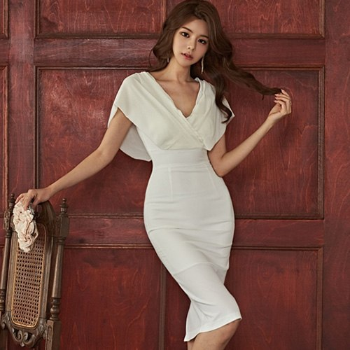 9f61158edf1 H Han Queen Sexy Solid White Knee-length Pencil 2018 Summer Dress For Women  Evening