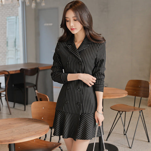 H Han Queen Striped Suit Dress Women 2018 Autumn New Double Breasted