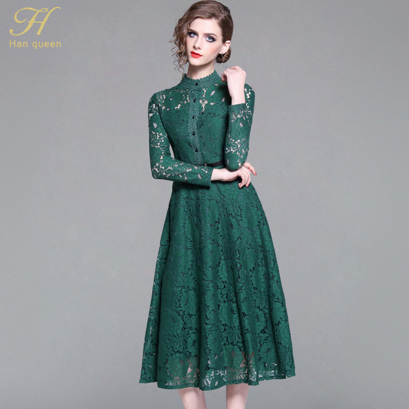 b258e0d754c13 H Han Queen Women 2018 Autumn Green Lace Dress High-End Ladies O-Neck  stitching Runway Vintage Female Slim Sexy Party Dresses – Beal | Daily  Deals For Moms