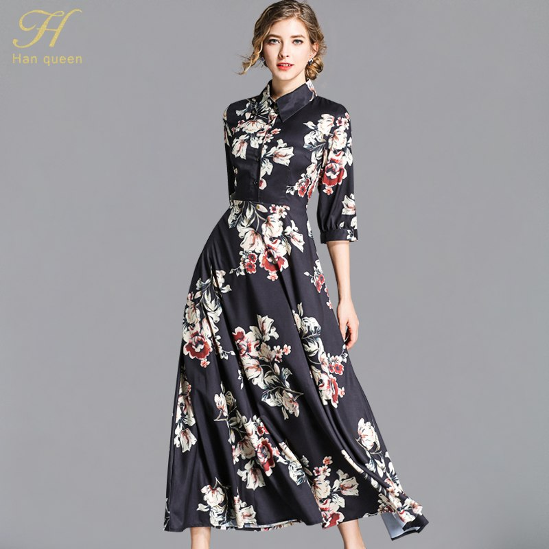 4c093d3ea99 H Han Queen Women New 2018 Autumn Print Floral Bohemia Long Dress ...