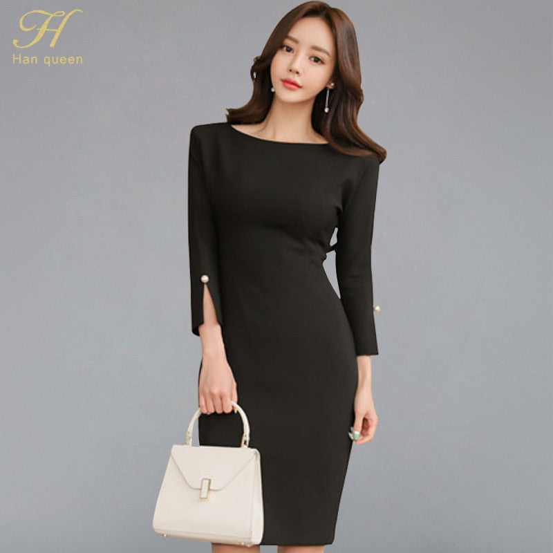 d59f334e157 H Han Queen Women  39 s 2018 Autumn Solid Black Tunic Knee-length Pencil  Bottoming Dress Sexy Sheath Bodycon Dresses Fitted Vestidos – Beal