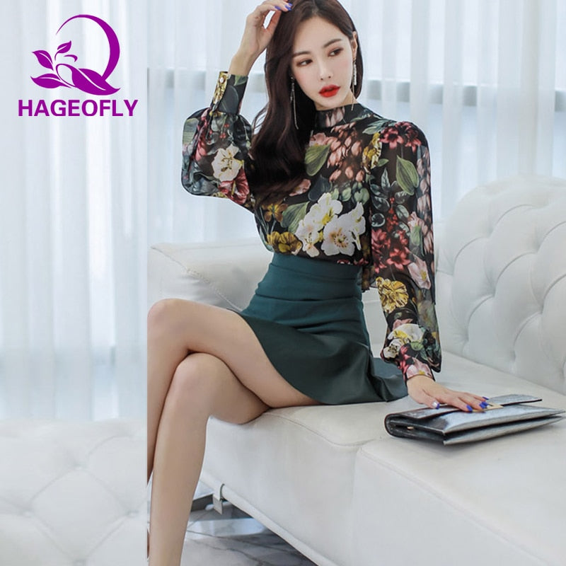 9d311308852 HAGEOFLY 2 two pieces set korean dress fashion mini skirt with print long  sleeve shirt office ladies slim women  39 s suits – Beal