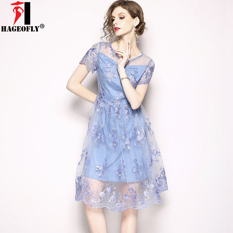 HAGEOFLY 2018 New Summer Sky Blue Mesh Dress Women A-line Work Office Lady Midi Slim Wedding
