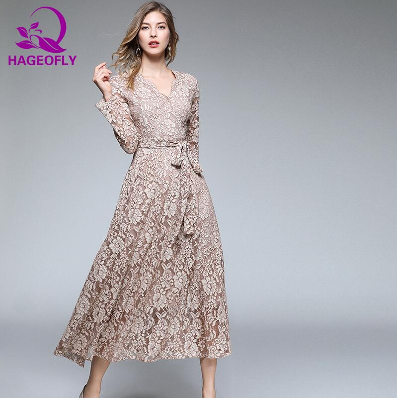 Hageofly Autumn New Long Sleeve Dress Sashes Pleated Bow Lacing Loose Big Size Vintage Casual