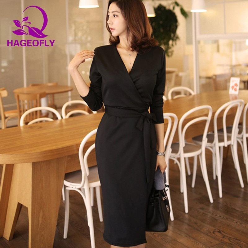 6f8aa092356 HAGEOFLY Autumn OL Pink Women Dress Korean V-neck Sashes Slim Pencil ...