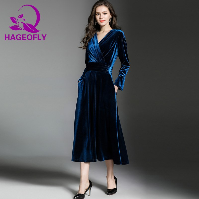 0b64012f0aee HAGEOFLY Autumn Vintage Velvet Dress Pink Dark Blue V-neck Slim A ...