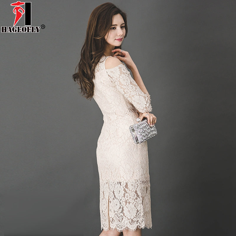HAGEOFLY Korean Sexy Beige Lace Dress Elegant Fashion Hollow Out Half OL  Bodycon Slim Knee Length Women Party Dress Vestido 2018 – Beal  f7a0c3bfd744