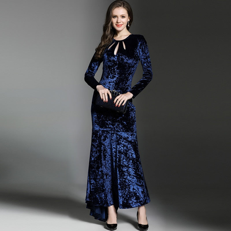 02ad612e46e48 HAGEOFLY New Maxi Mermaid Vestidos Dress Autumn Korean Dark Blue Velvet  Dress Elegant Fashion