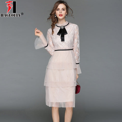 HAGEOFLY Pink Long Flare Sleeve Cascading Ruffle Dress Sweet O-neck Knee-length Summer Lace Mesh