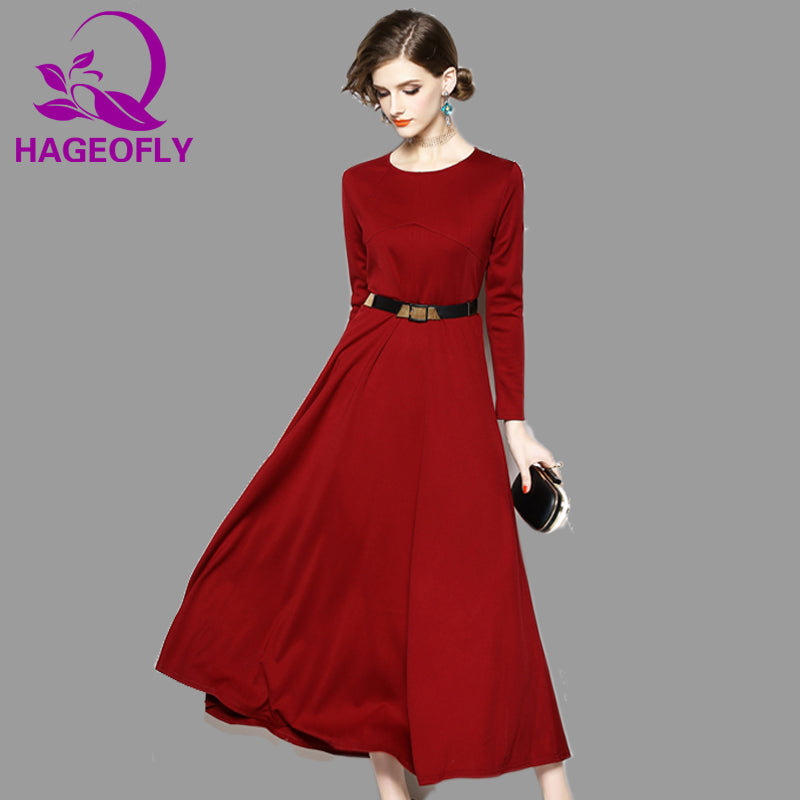 cdaf69f983e HAGEOFLY Red Long Sleeve Dress Autumn New Fit and Flare Slim Maxi Dress  Women Casual Big Size Dresses Vestidos Verano 2018 – Beal