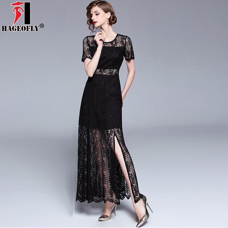 5b9cba6f966e HAGEOFLY Women  39 s Summer Black Lace Maxi Dress Elegant Hollow Out ...