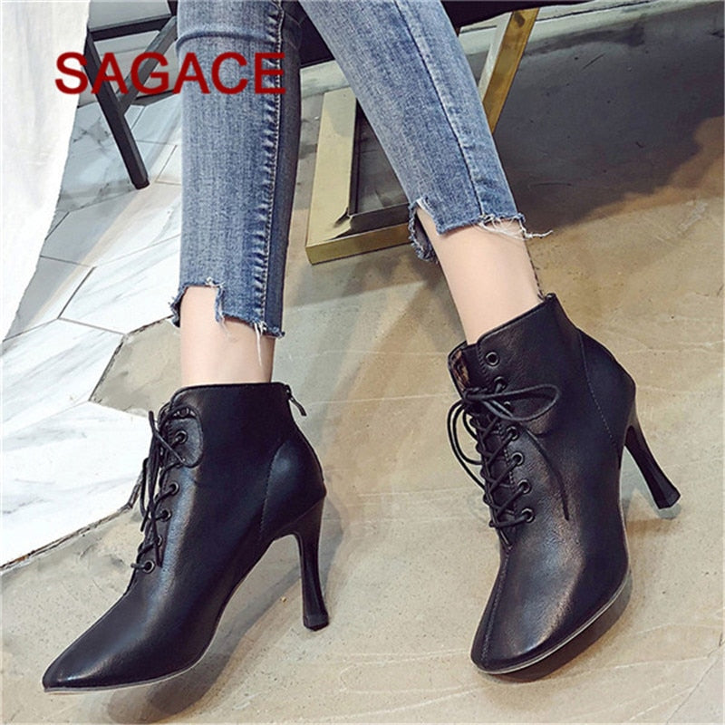 25547290764 HB@ Women High Heel Shoes Martain Boot Leather Lace-Up Solid Color Square  Toe Shoes