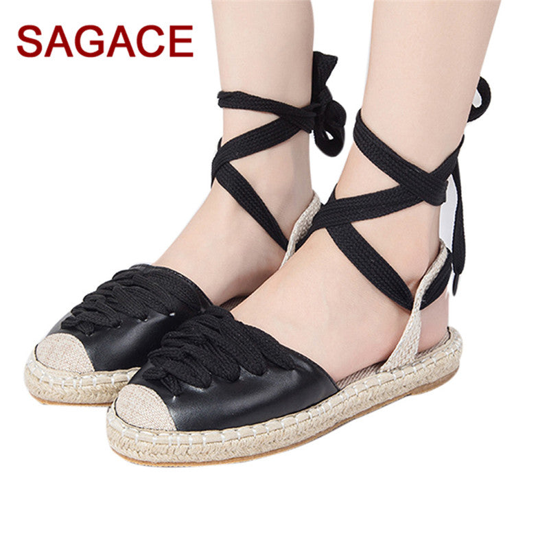 390aae9be3 HB@Womens Flat Lace-Up Espadrilles Summer Chunky Holiday Sandals Shoes –  Beal   Daily Deals For Moms